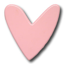 Modern Heart Wooden Drawer Pull, Pink