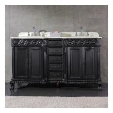 OVE Decors Trent 60 In. Antique Black Double Sink Bathroom Vanity