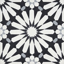 "8""x8"" Alhambra Handmade Cement Tile, Black-White-Gray, Set of 12"