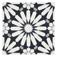 """8""""x8"""" Alhambra Handmade Cement Tile, Black-White-Gray, Set of 12"""