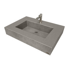 "30"" ADA Floating Concrete Rectangle Sink, Charcoal"