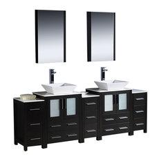 "Fresca Torino 84"" Espresso Modern Double Sink Bathroom Vanity w/ 3 Side Cabinets"