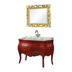 Baroque Bathroom Vanity Unit, Red, 115 cm