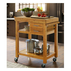 Rolling Bamboo Wood Kitchen Island Cart Trolley, Cabinet w/ Towel Rack & Drawers