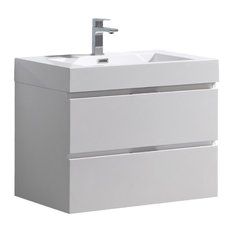 "Fresca Valencia 30"" Wall Hung Modern Bathroom Vanity, Glossy White"