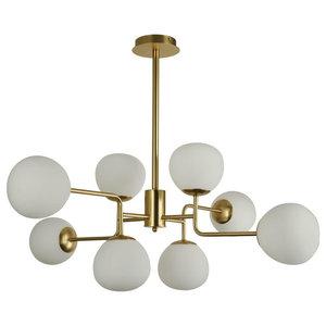 Erich Modern Sputnik Chandelier With White Globe Shades, 8 Light