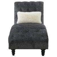 Pemberly Row Thelwell Gray Chaise With Pillows Nailhead Trim And Turned Legs