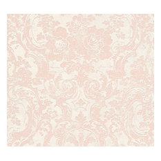 Moments, Baroque Motifs, Flowers And Garlands Cream Wallpaper Sample, Modern