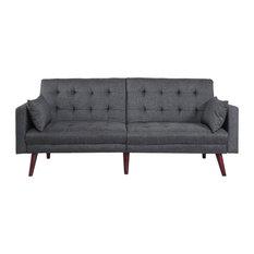 Modern Tufted Linen Splitback Recliner Sleeper Futon Sofa, Gray
