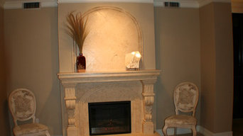 fireplace travertine