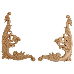 Hand Carved Pair Onlay Acanthus Scroll Traditional Onlays And Appliques By American Pro Decor