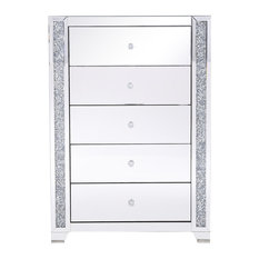 34-inch Silver Crystal Mirrored Five Drawer Cabinet