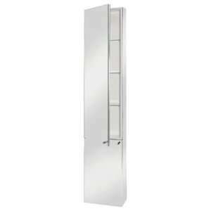 Contemporary Tall Mirror Cabinet, Stainless Steel With 2-Door and 3-Shelf