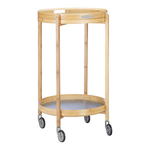 Modern Round Serving Trolley Cart, Natural Bamboo Wood With 2 Open Shelves