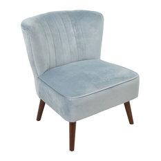 Cromarty Velvet Accent Chair, Light Blue