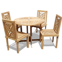 """Genuine Grade A Teak, 39"""" Drop Leaf Table With 4 Chippendale Stacking Chairs"""
