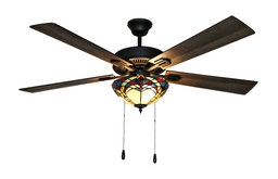 """52"""" Gable Prairie 5-Blade Stained Glass Ceiling Fan, Bulbs Included No Remote"""