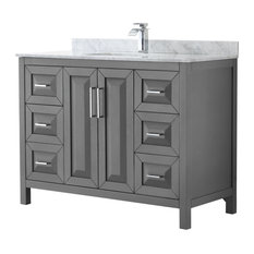 "Daria 48"" Dark Gray Single Vanity, Carrara Marble Top, Square Sink, No Mirror"