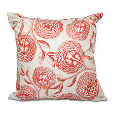 """Antique Flowers, Floral Outdoor Pillow, Coral, 20""""x20"""""""