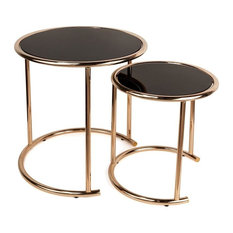 2-Piece Nested Round End Table Set, Black