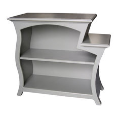 Bookcase No. 6, Curved Accent Bookcase, Ash Gray Paint