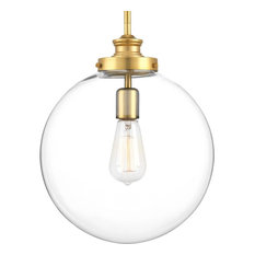 "Progress Penn 1-Light 12"" Pendant, Natural Brass/Clear"