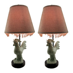 Green Crowing Country Rooster 2 Piece Table Lamp Set with Fringed Shade