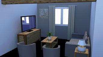 Décoration salon vue 3D