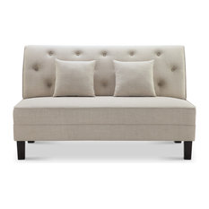 Cassandra Fabric Tufted Buttons Loveseat With Pillows, Beige