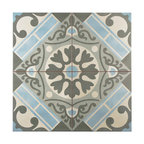 "17.63""x17.63"" Jive Ceramic Floor and Wall Tiles, Azul"