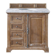 "Providence 36"" Driftwood Single Vanity w/ 4cm Carrara White Marble Top"