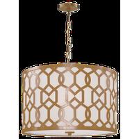 Jennings 5-Light Pendant, Aged Brass, White Linen Shade
