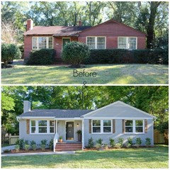 The Last Photo Was A Plain Red Brick Ranch Style House That Has Been Painted And Had Roof Added To Porch It Can Be Done