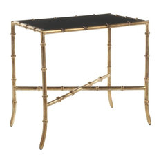Safavieh   Safavieh Chandler Accent Table, Black, Gold Legs II   Side Tables  And