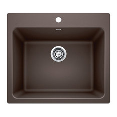"""25""""x22""""x12"""" Blanco Liven Silgranit Laundry Sink, Cafe Brown"""