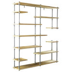 Furniture Pipeline - Nashville Mid-Century Etagere Bookcase, Natural - Unique chic space saving and beautifully designed  is what comes to mind when you first lay eyes on our Nashville bookcase/etagere! It is a perfect lightweight  asymmetrical design storage addition to your office or living space. Each metallic component is expertly crafted from the finest materials including aircraft-grade recyclable aged finished aluminum and sustainable reclaimed/aged finished solid Paulownia (looks like Ash  lifts like cardboard!) wood. This bookcase/etagere is lightweight and durable  easy to move around as needed  arriving at your doorstep with 100% recyclable packaging for a lifetime of enjoyment!