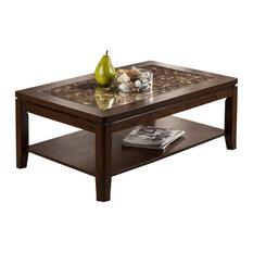 Alpine Furniture, Inc   Alpine Granada Coffee Table With Glass Insert And  Shelf, Brown