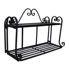 Pangaea Home And Garden   Folding Scroll Double Wall Shelf In Black    Display And Wall