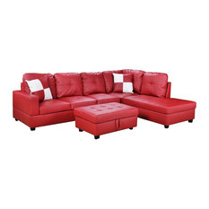Modern Red Faux Leather Sectional Sofa and Storage Ottoman - Sectional Sofas  sc 1 st  Houzz : red leather sofa sectional - Sectionals, Sofas & Couches