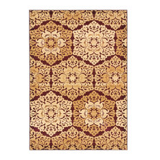Crown Beige, Burgundy Rug, 3.92'x5.25'