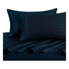 1500 Thread Count Egyptian Cotton Stripe Bed Sheet Set, Queen, Navy