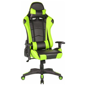 Modern Gaming Chair Upholstered, PU Leather With Head, Lumbar Pillow, Lime Green