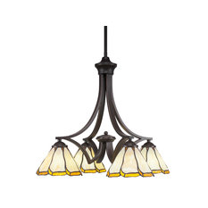 4 Light Chandelier, Granite Finish With Honey and Brown Flair Tiffany Glass