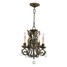 "Chandelier 4-Light With Toasted Sienna Mystic Silver Candelabra 15"" 240W"