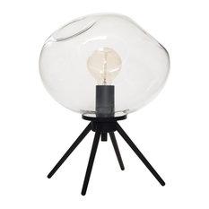 Table Lamp Handblown Glass Organic Contemporary Uplight, Clear
