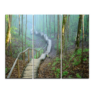 """""""Stairway Leading to Foggy Forest"""" Photo Wall Art, 3 Panels, 36""""x28"""""""