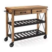 Crosley Roots 2 Drawer Kitchen Cart in Natural and Black