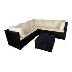 Modern Outdoor Garden Sectional Wicker Sofa Set With Coffee Table, Black & Ivory