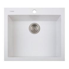 One Series Single Drop-In Sink, Milk White
