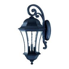 Three Light Matte Black Wall Lantern
